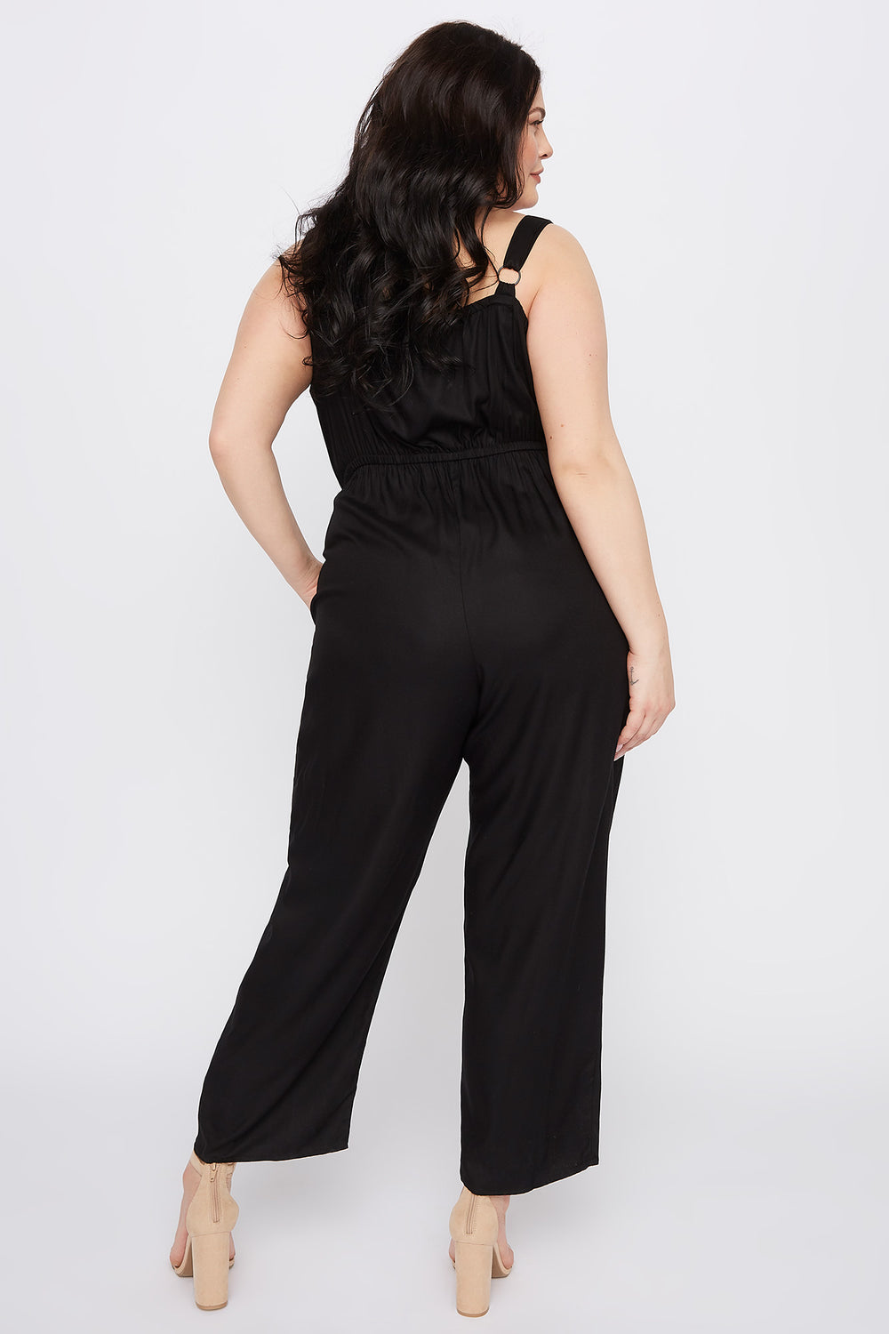 Plus Size Sleeveless Button Jumpsuit Black
