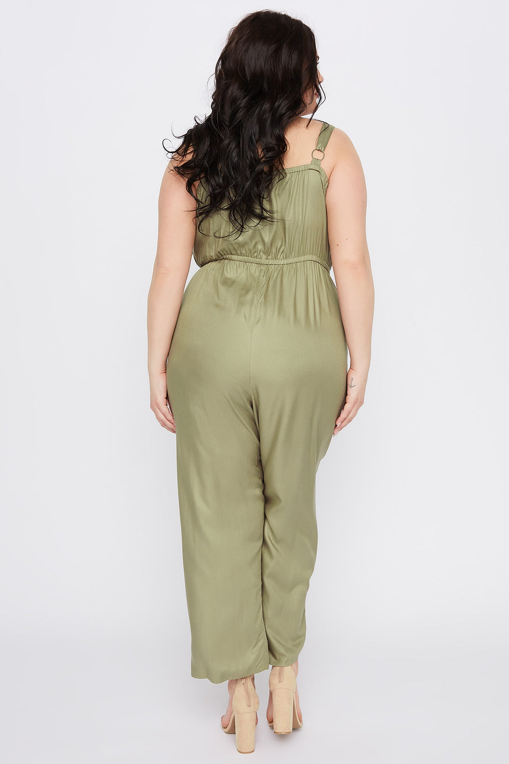 Plus Size Sleeveless Button Jumpsuit Dark Green