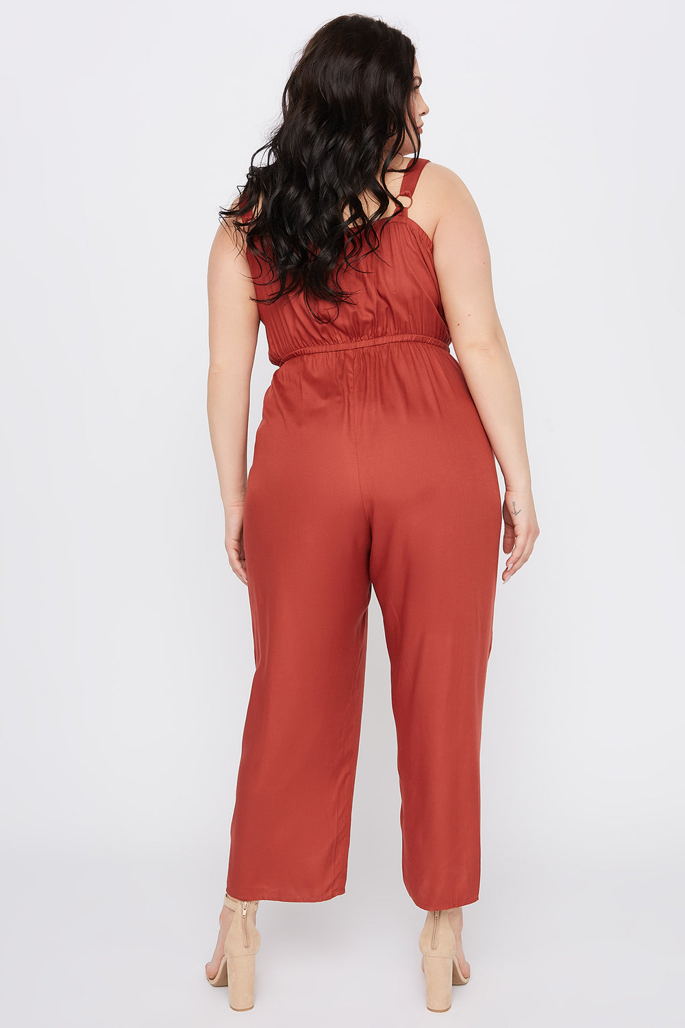 Plus Size Sleeveless Button Jumpsuit Rust