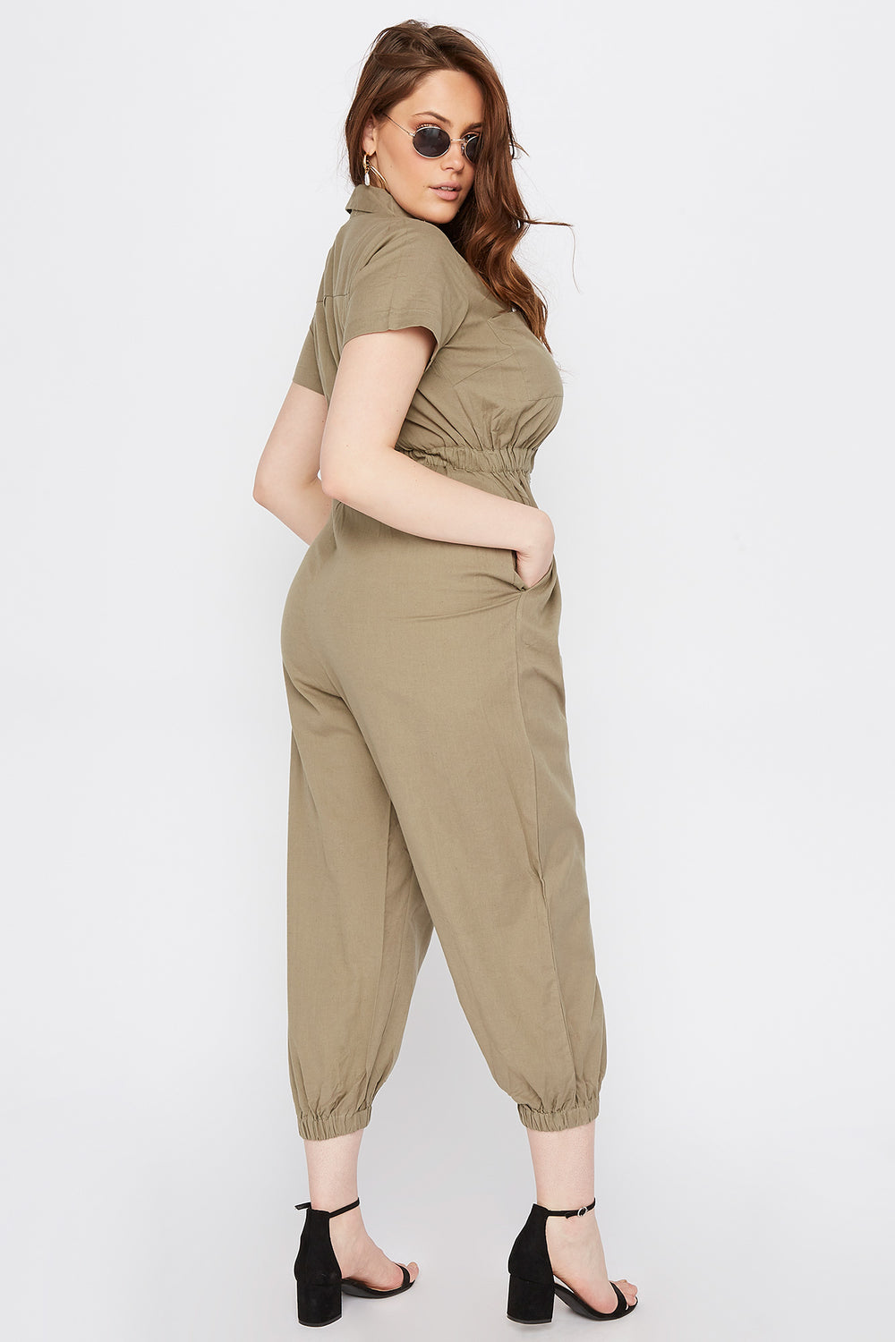 Plus Size Button-Up Utility Jumpsuit Dark Green