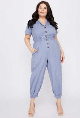 Plus Size Button-Up Utility Jumpsuit