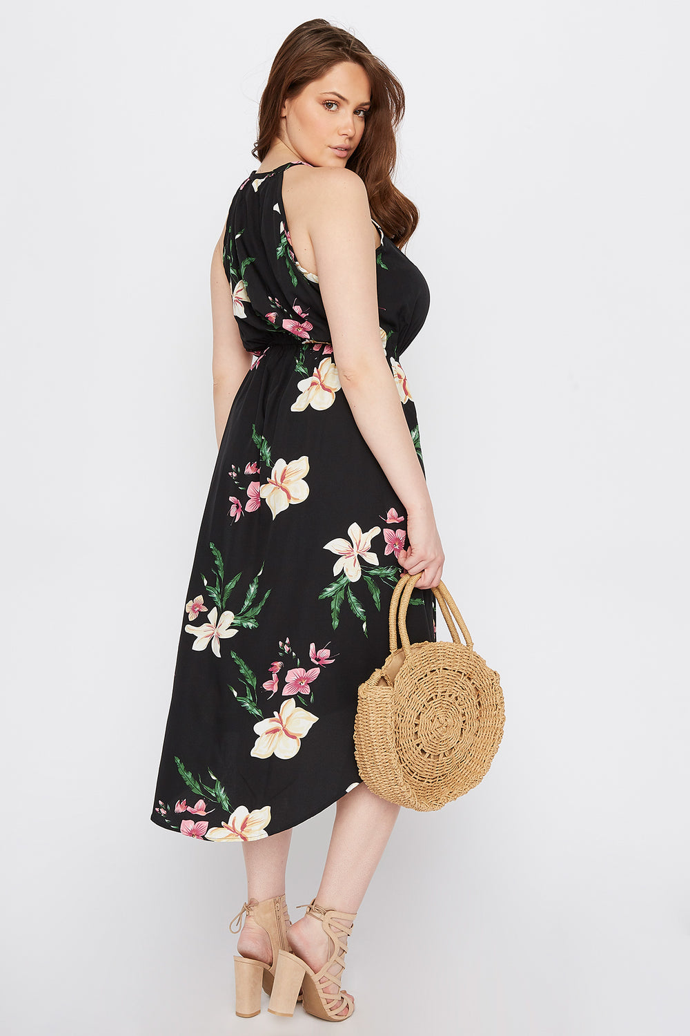 Plus Size High Neck Keyhole Tulip Hem Dress Black