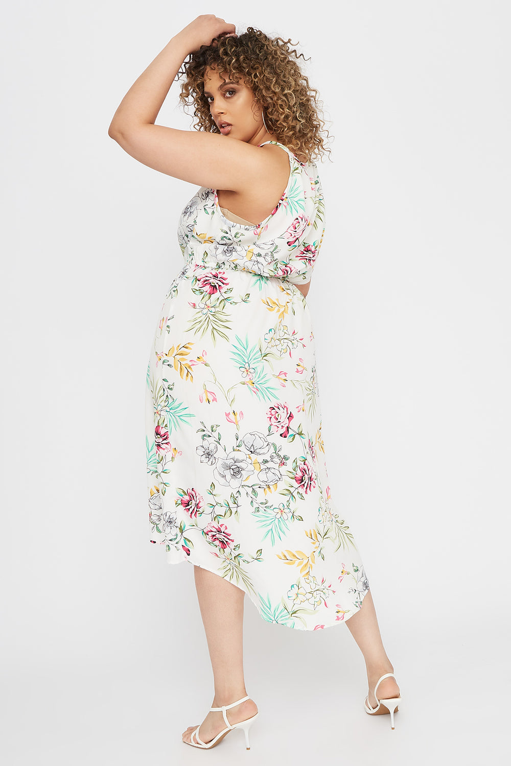 Plus Size High Neck Keyhole Tulip Hem Dress White