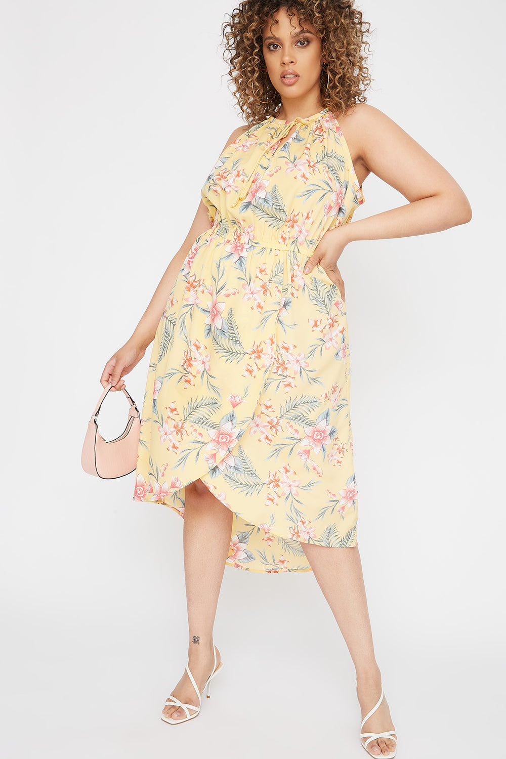 Plus Size High Neck Keyhole Tulip Hem Dress Yellow