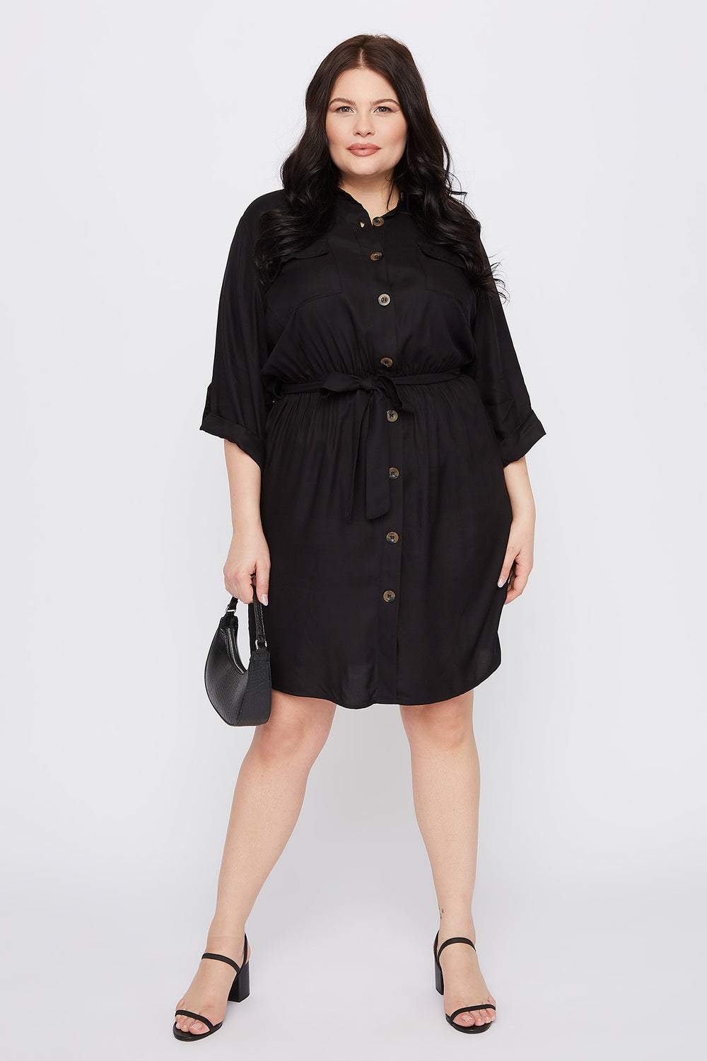 Plus Size Button-Up Shirt Dress Black