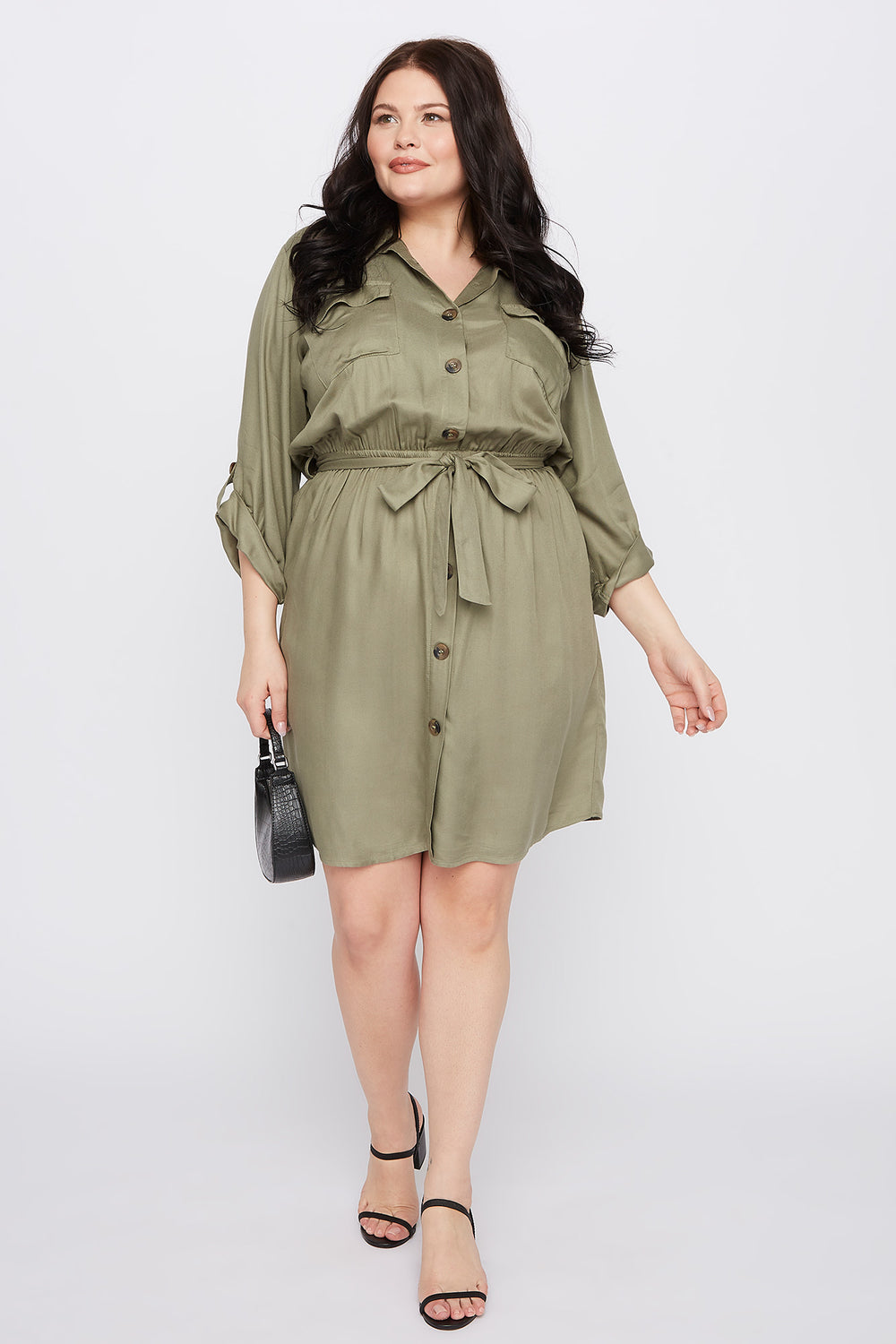 Plus Size Button-Up Shirt Dress Dark Green