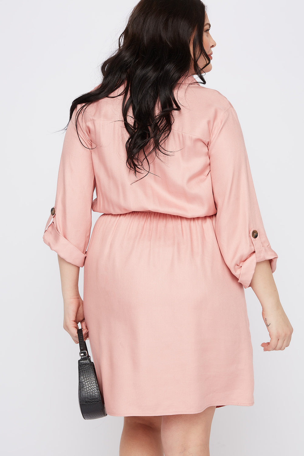 Plus Size Button-Up Shirt Dress Rose