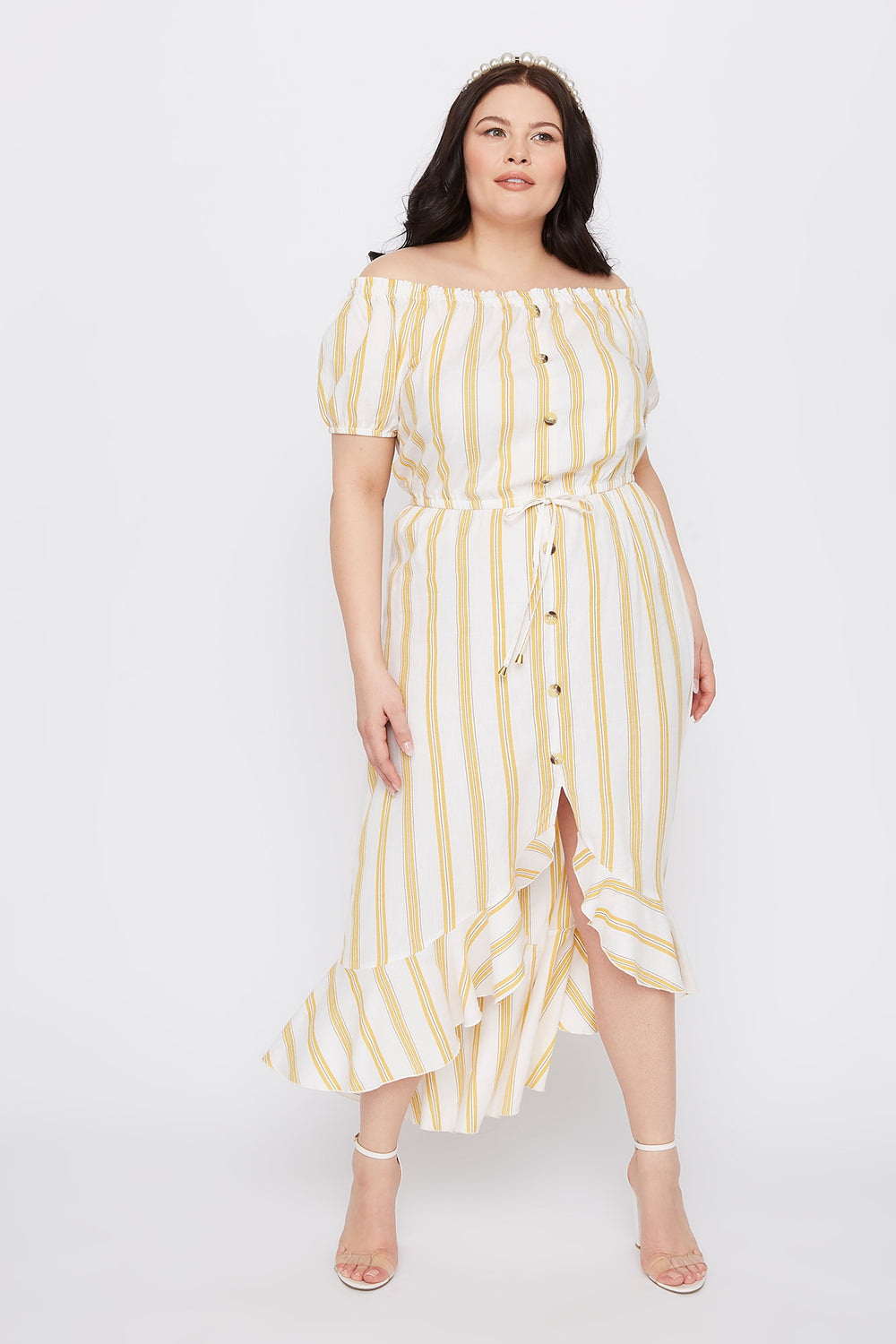 Plus Size Striped Off The Shoulder High-Low Button Maxi Dress Assorted