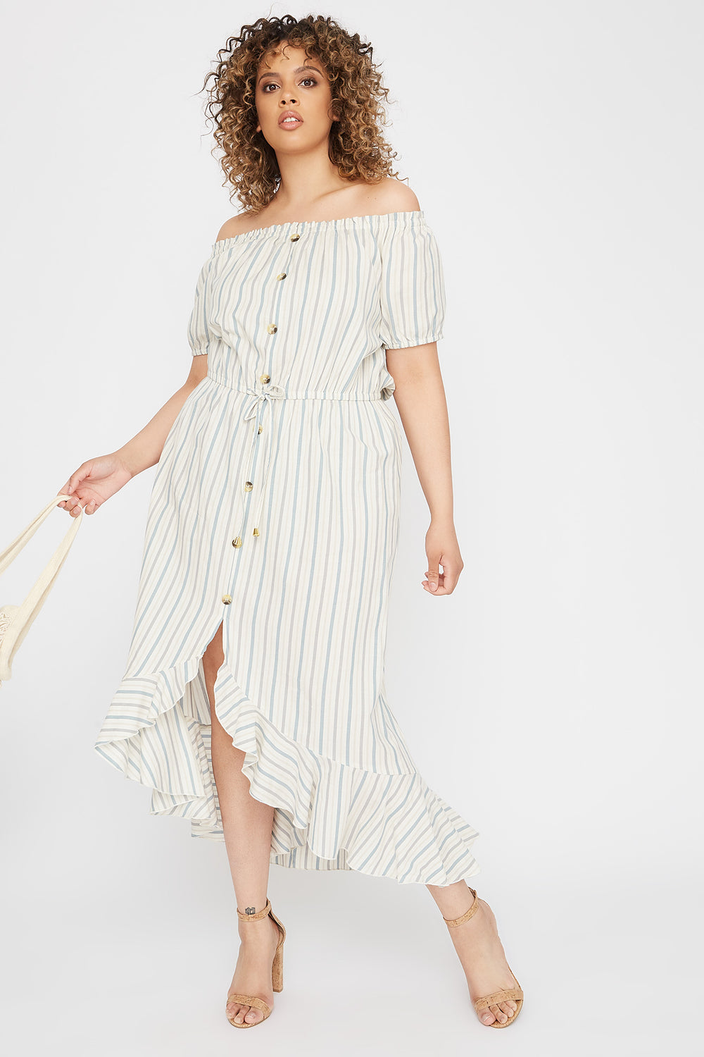 Plus Size Striped Off The Shoulder High-Low Button Maxi Dress Oatmeal
