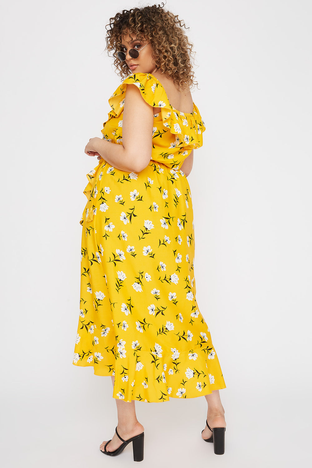 Plus Size Floral Off The Shoulder Ruffle Maxi Dress Yellow