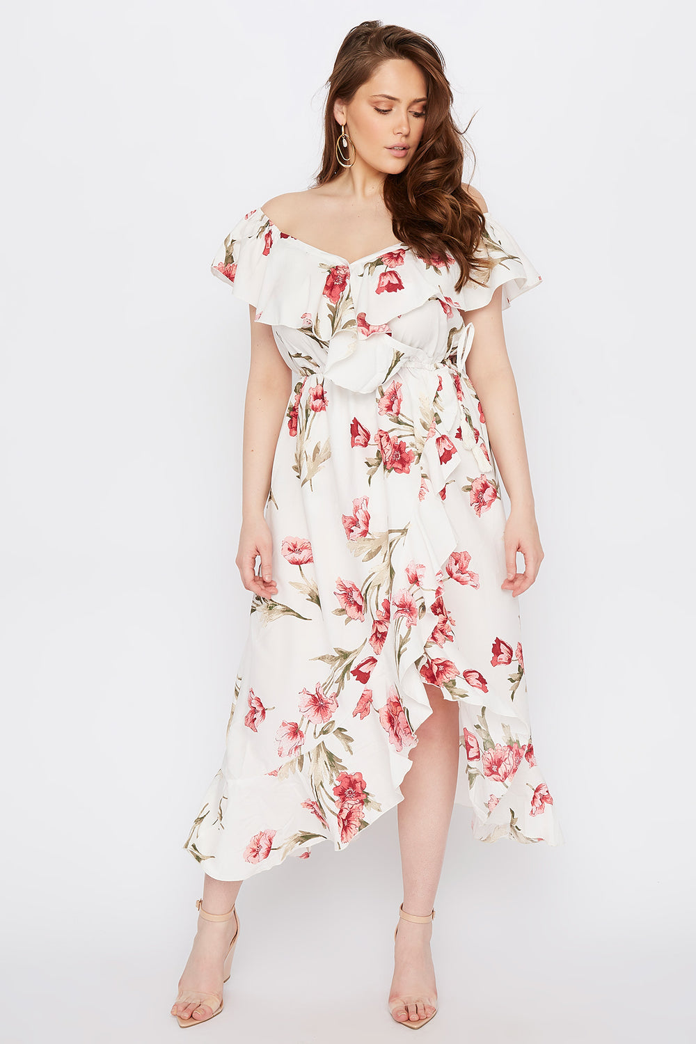 Plus Size Floral Off The Shoulder Ruffle Maxi Dress White
