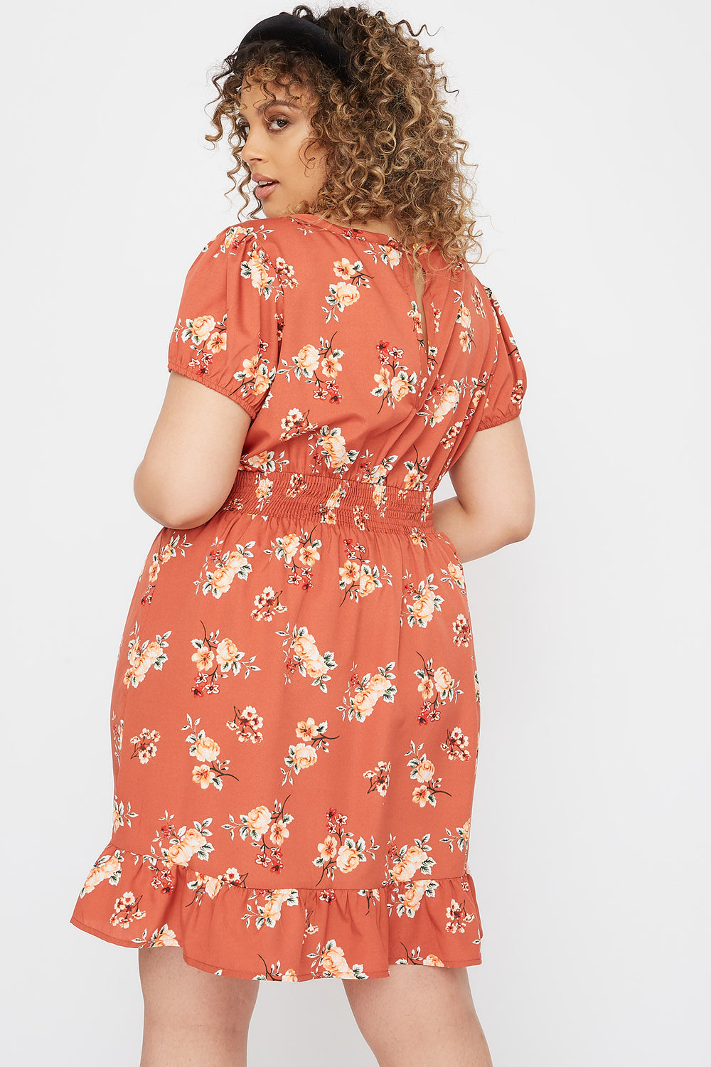 Plus Size Floral Ruffle Hem Mini Dress Rust