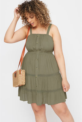 Plus Size Button Front 3-Tier Mini Dress