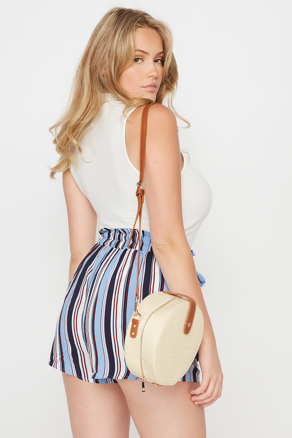 Plus Size Striped Paperbag Self Tie Short Blue