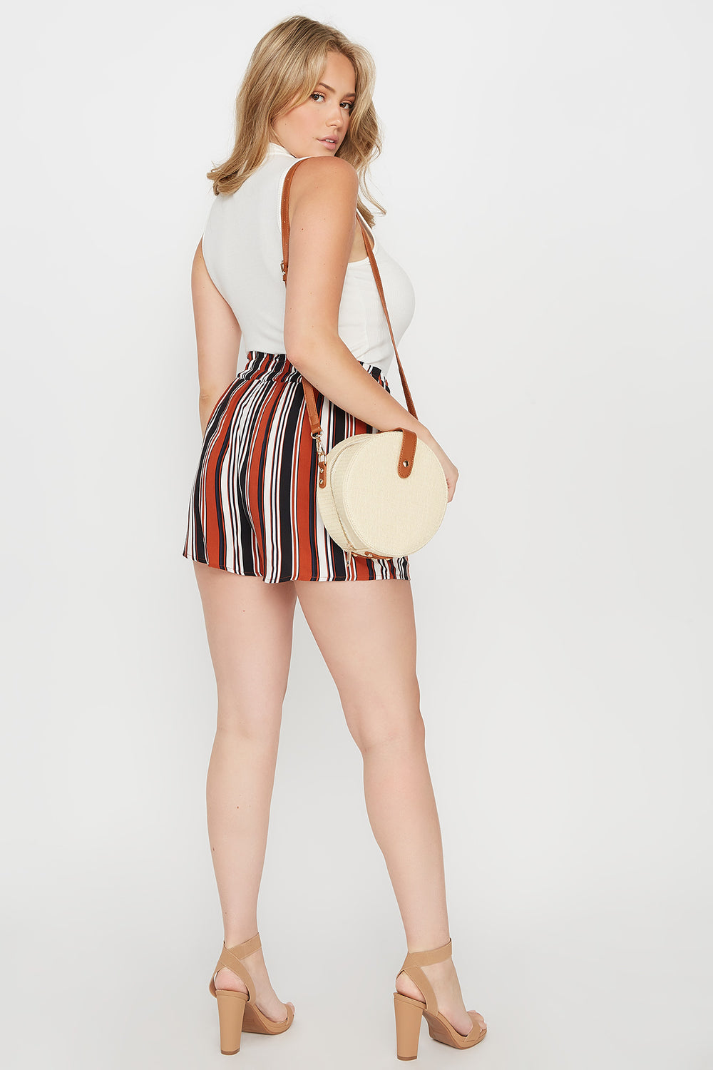 Plus Size Striped Paperbag Self Tie Short Rust