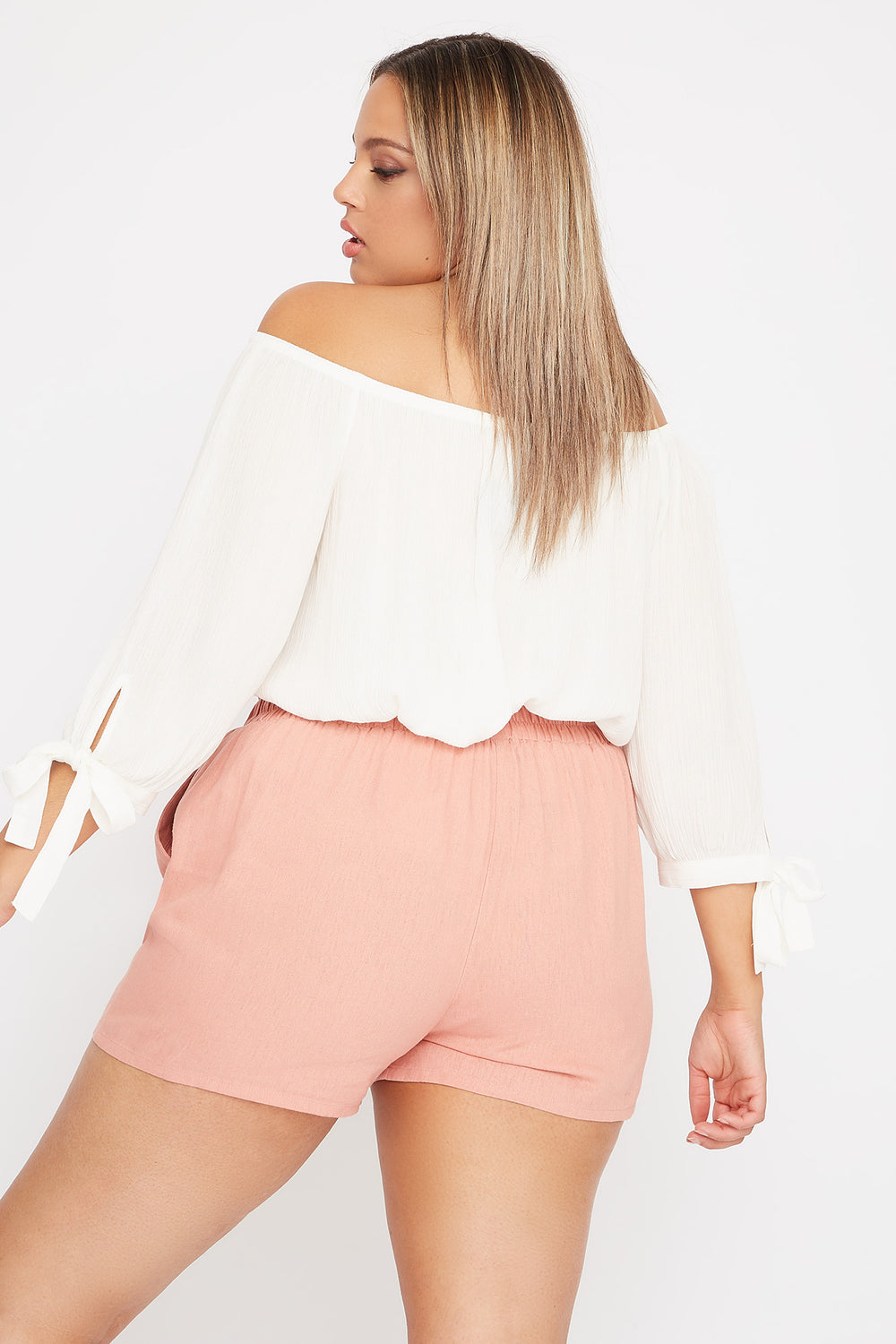 Plus Size Linen High-Rise Tie Short Mauve