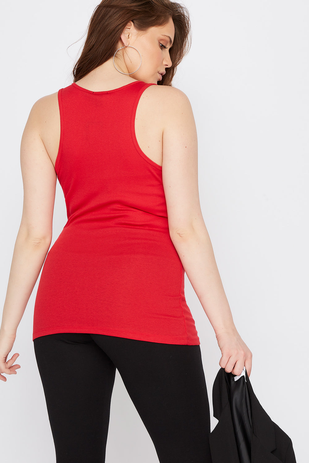 Plus Size Racer Back Tank Red