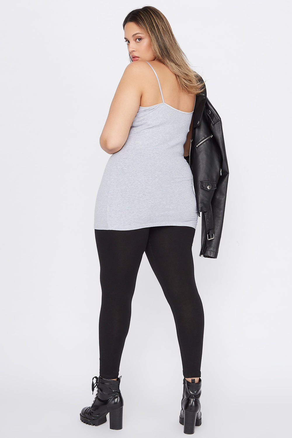 Plus Size Basic Solid Cami Heather Grey