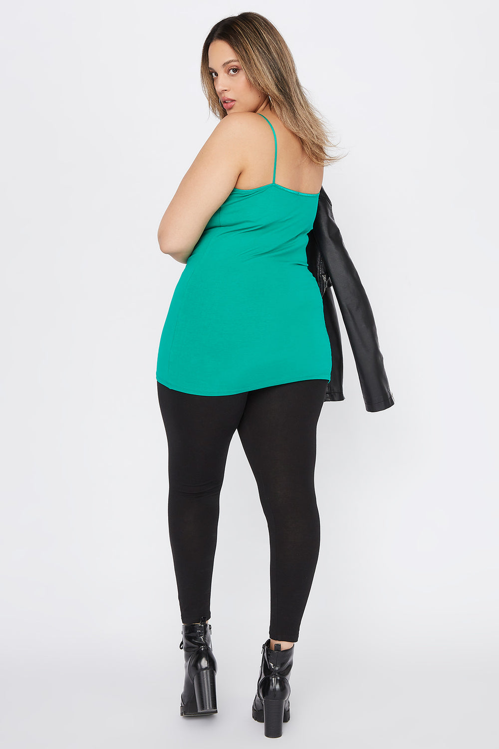 Plus Size Basic Solid Cami Green