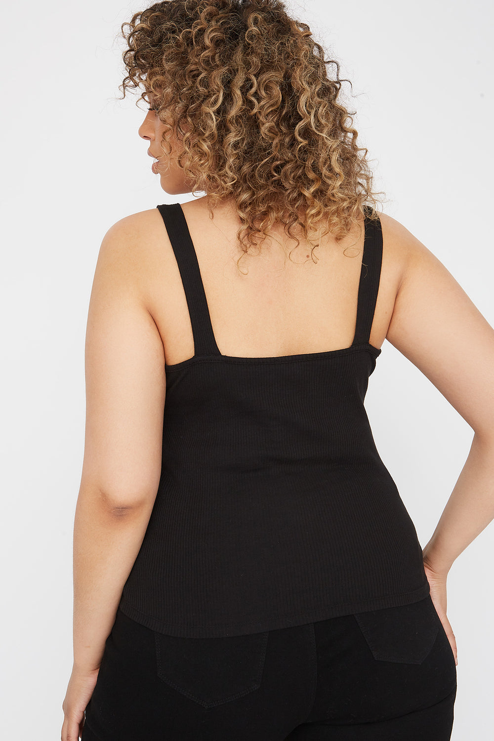 Plus Size Ribbed Buckle Tank Black