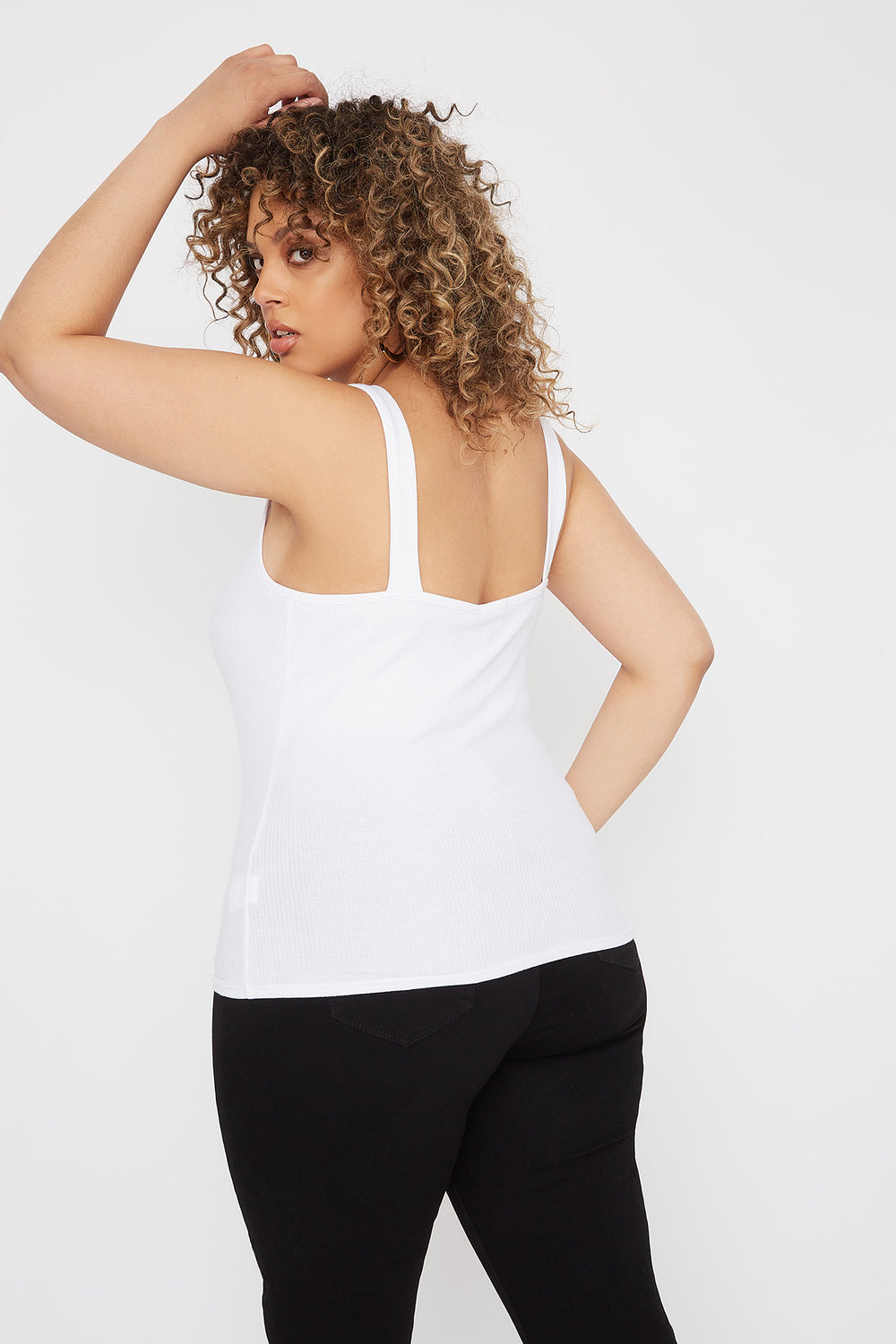 Plus Size Ribbed Buckle Tank White