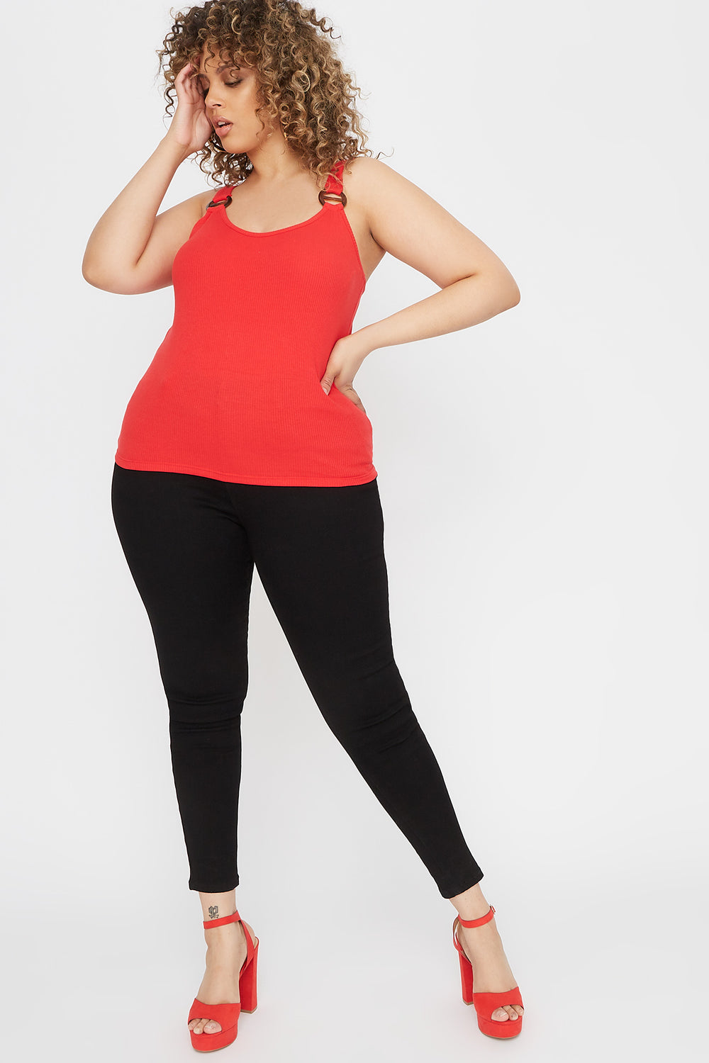 Plus Size Ribbed Buckle Tank Red