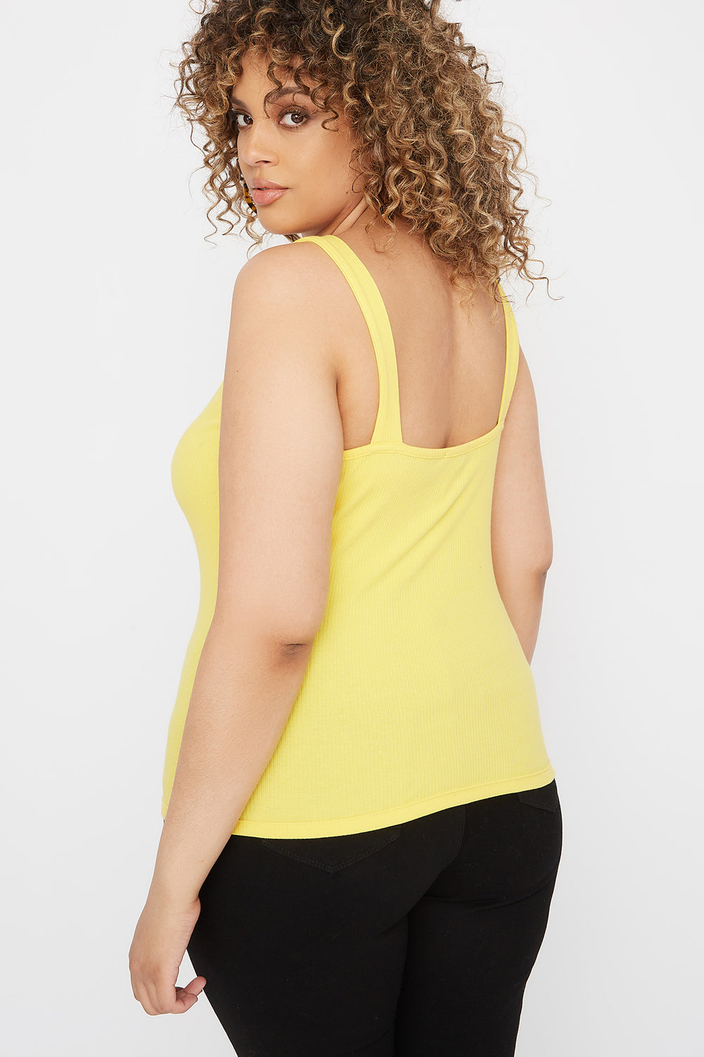 Plus Size Ribbed Buckle Tank Yellow