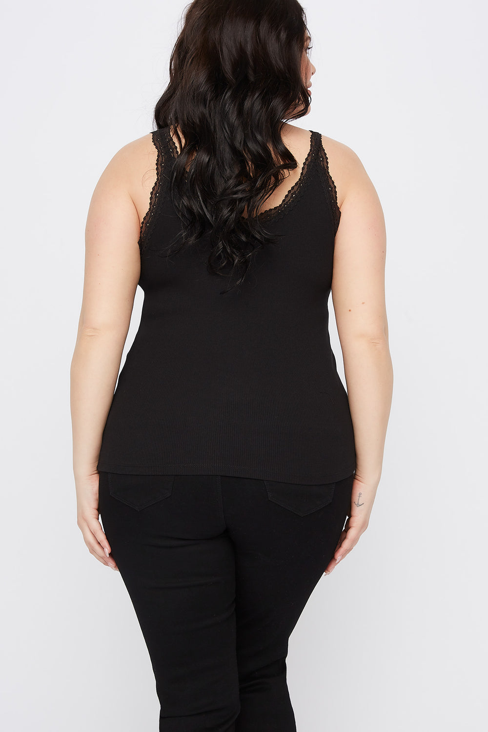 Plus Size Ribbed Lace Trim Cami Black