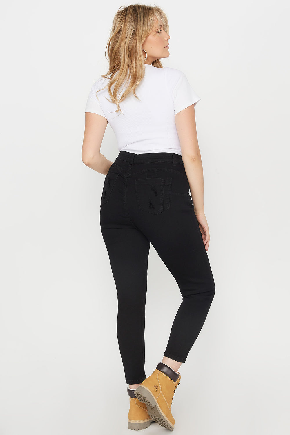 Plus Size Butt, I Love You High-Rise Push-Up Distressed Skinny Jean Black