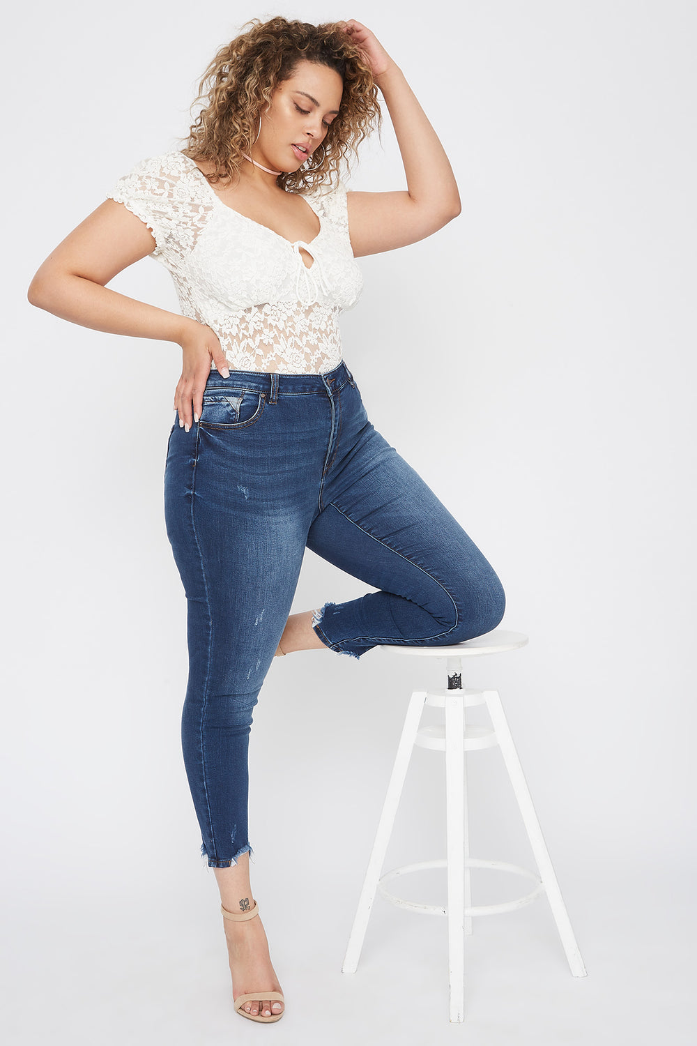 Plus Size High-Rise Raw Hem Skinny Jean Denim Blue