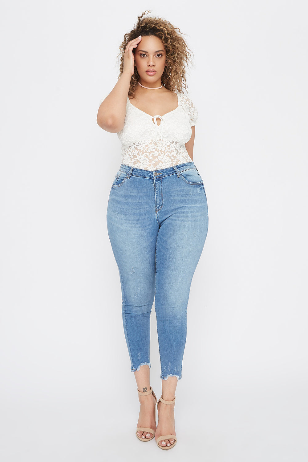 Plus Size High-Rise Raw Hem Skinny Jean Blue