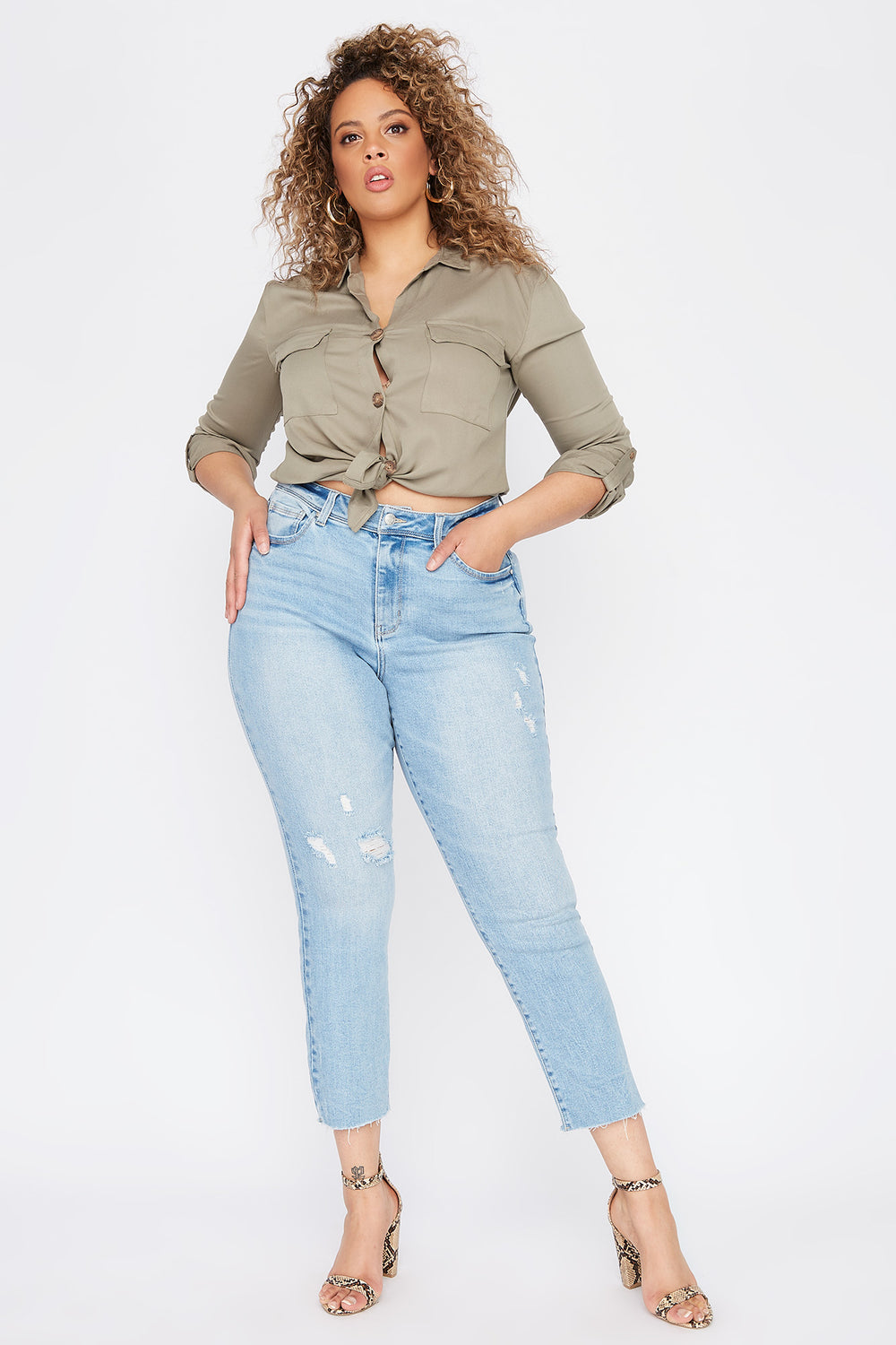 Plus Size High-Rise Distressed Slim Straight Jean Light Denim Blue