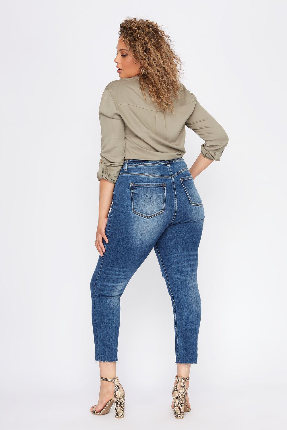 Plus Size High-Rise Distressed Slim Straight Jean Dark Blue
