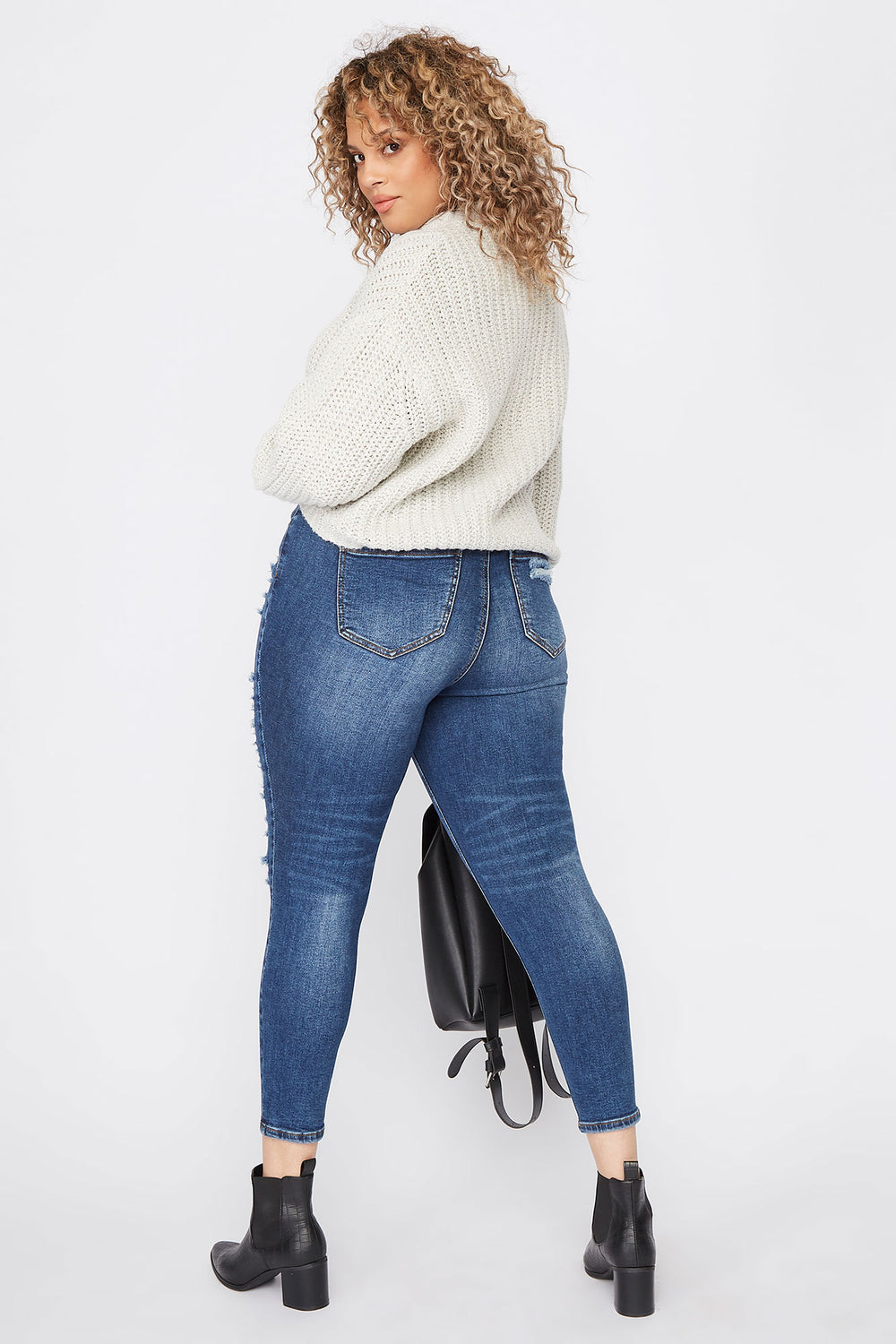 Plus Size Distressed Skinny Jean Navy Blue