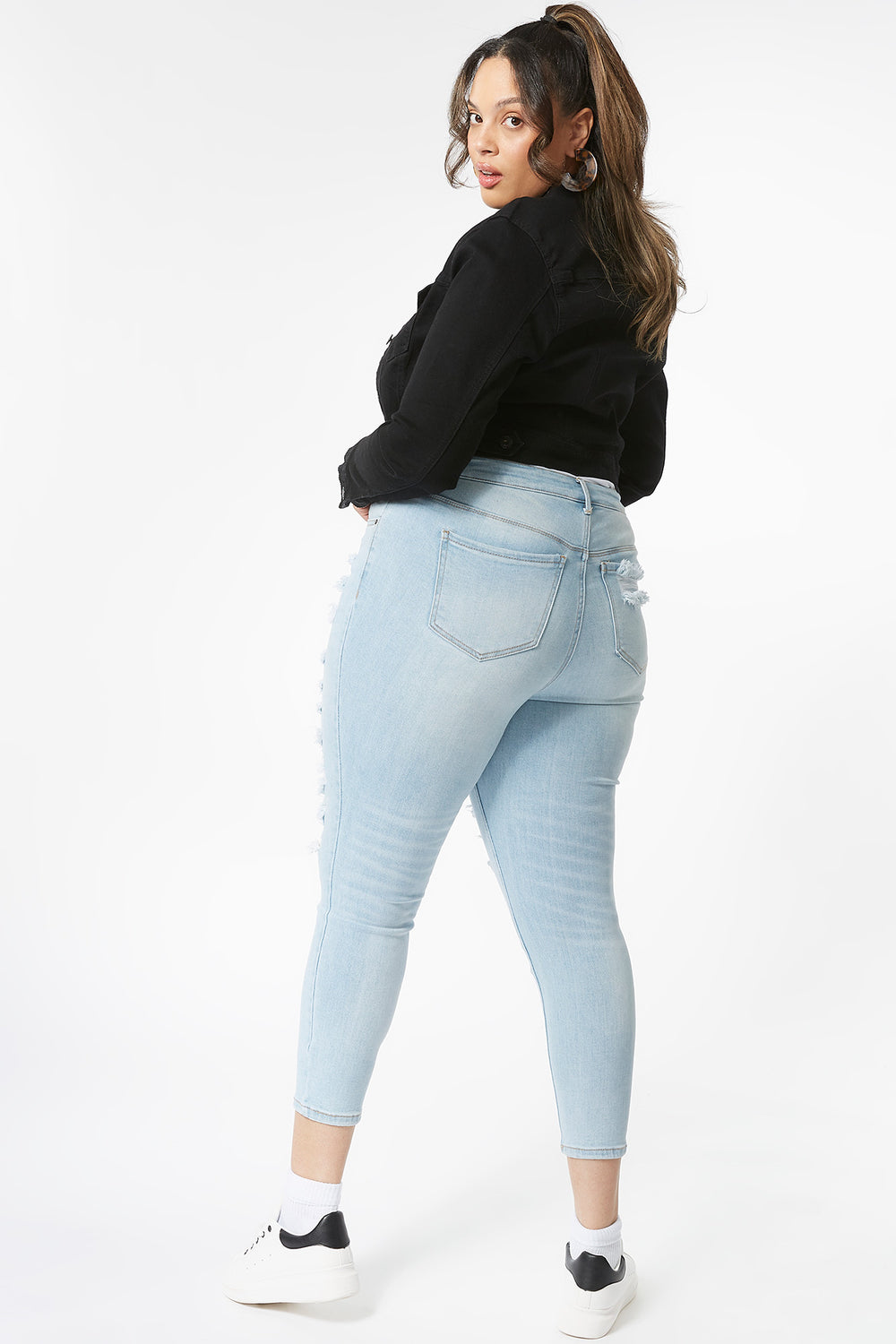 Plus Size Vintage High-Rise Distressed Skinny Jean Light Denim Blue