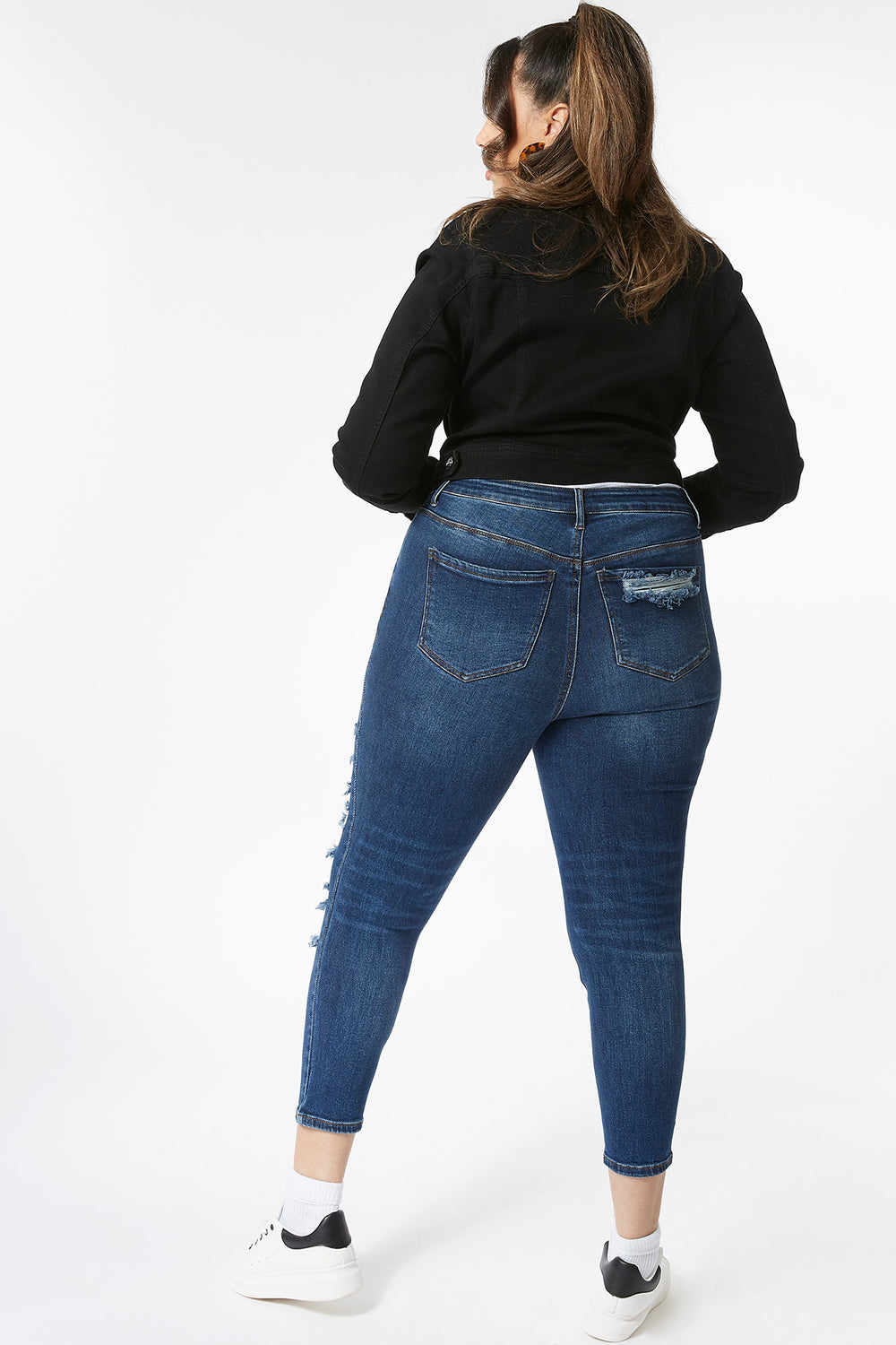 Plus Size Vintage High-Rise Distressed Skinny Jean Dark Blue