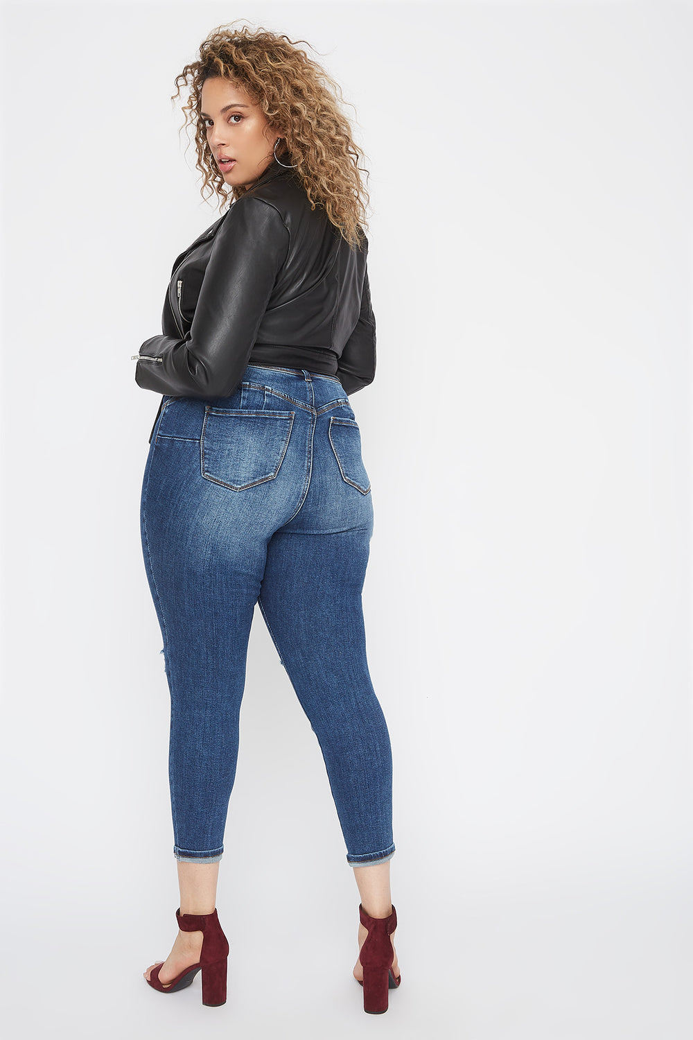 Plus Size Butt, I Love You High-Rise Push-Up Distressed Cuffed Skinny Jean Navy Blue