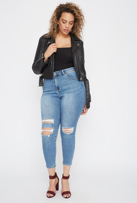 Plus Size Butt, I Love You High-Rise Push-Up Distressed Cuffed Skinny Jean