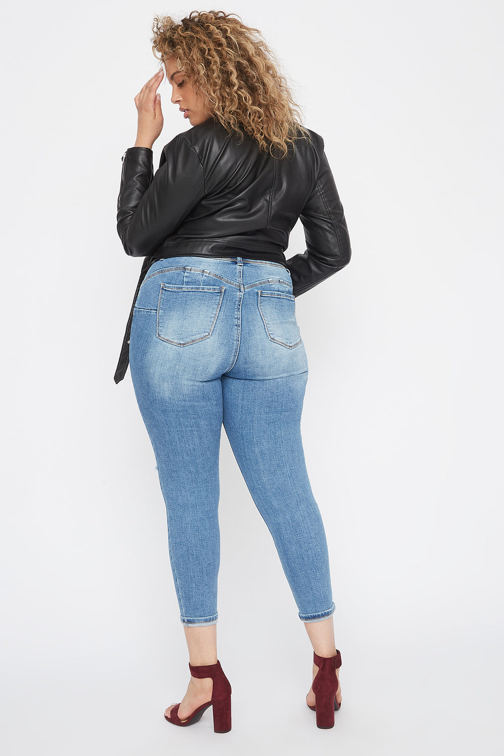 Plus Size Butt, I Love You High-Rise Push-Up Distressed Cuffed Skinny Jean Sky Blue
