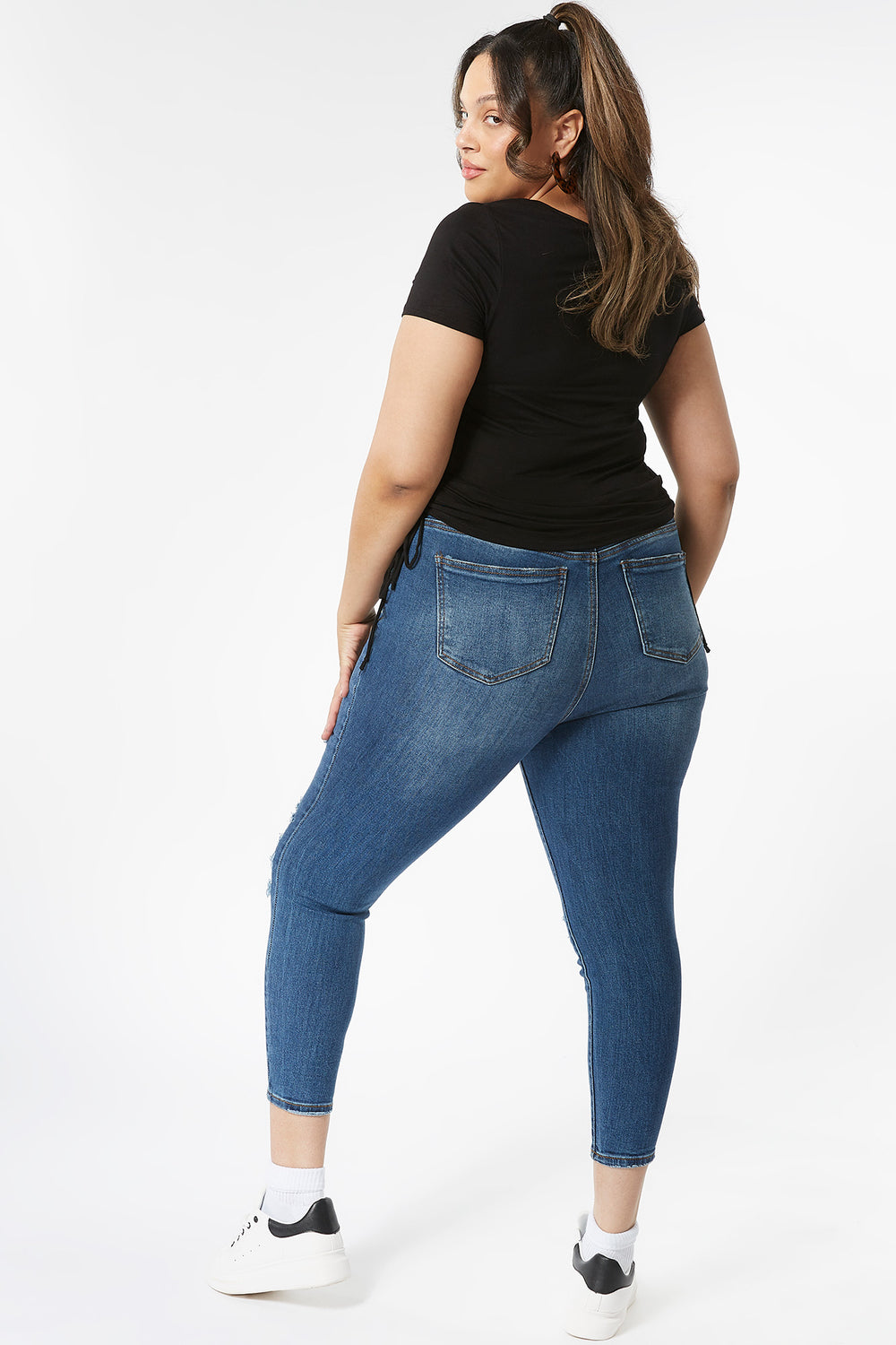 Plus Size High-Rise Distressed Rip And Repair Skinny Jean Navy Blue