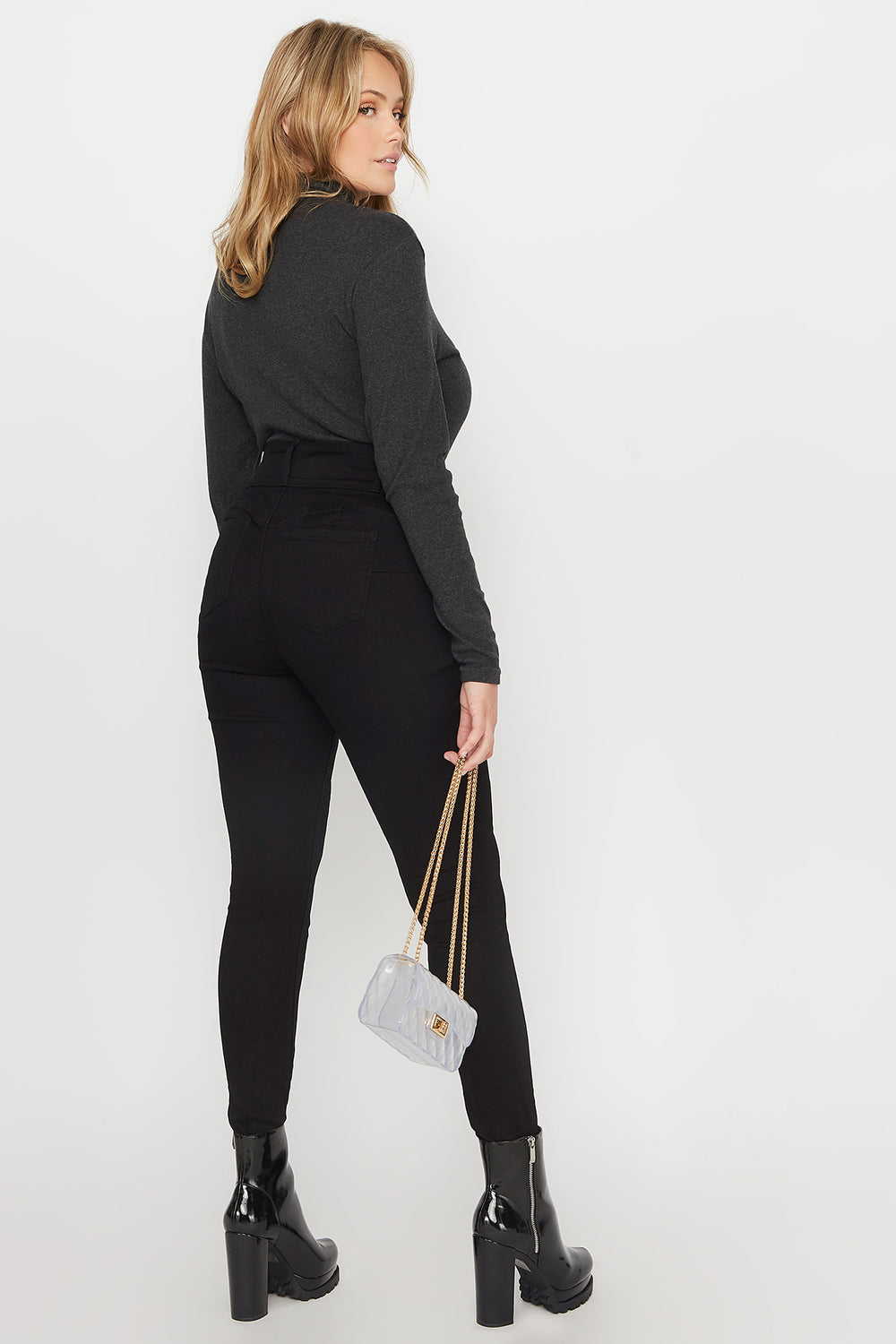 Plus Size Butt, I Love You High-Rise Push-Up Skinny Jean Black