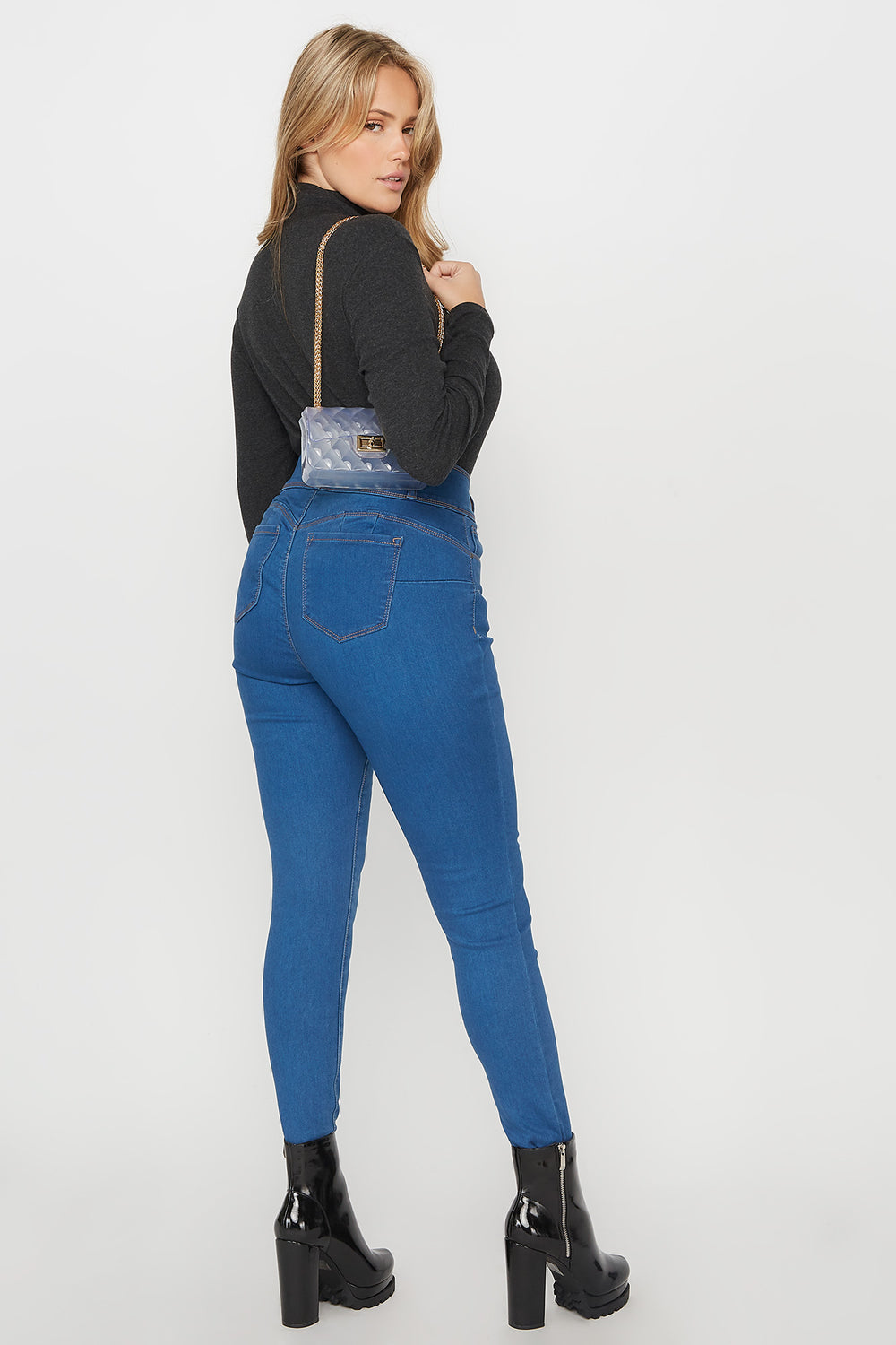 Plus Size Butt, I Love You High-Rise Push-Up Skinny Jean Medium Blue