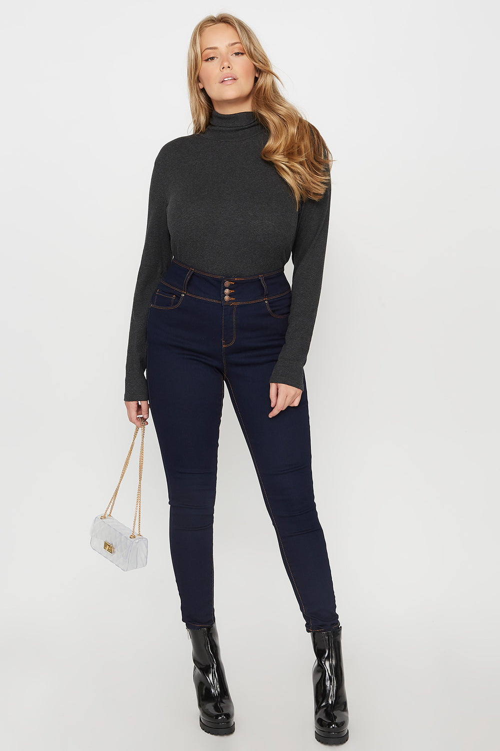 Plus Size Butt, I Love You High-Rise Push-Up Skinny Jean Navy Blue