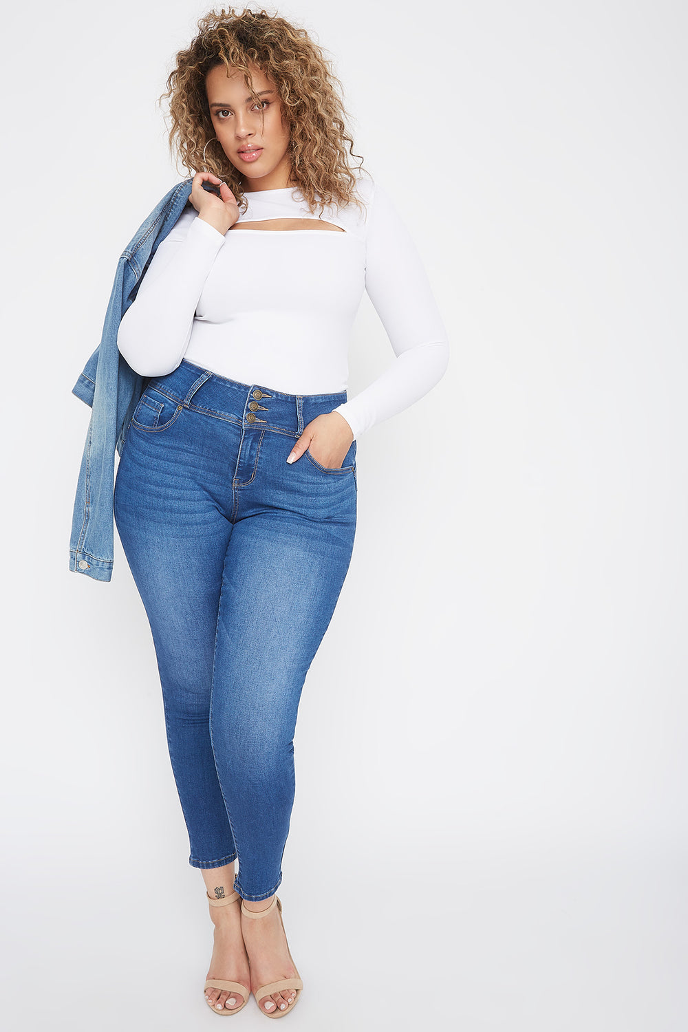 Plus Size Butt, I Love You 3-Tier High-Rise Push-Up Skinny Jean Medium Blue