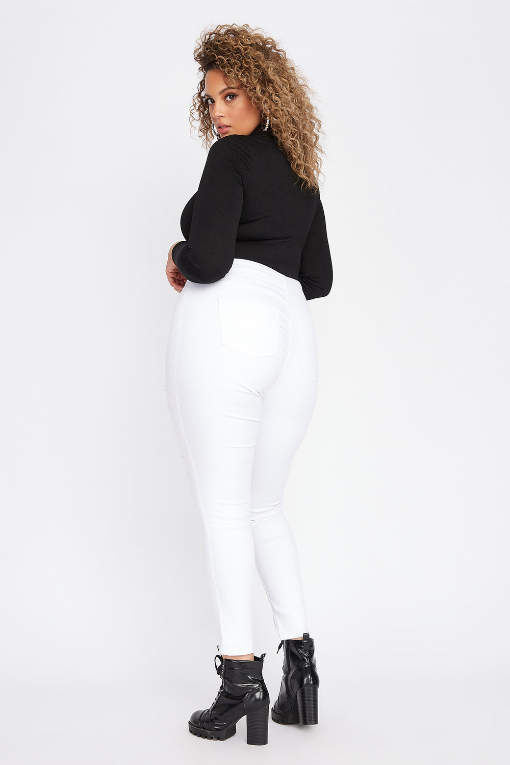 Plus Size High-Rise Distressed Stretch Skinny Jean White