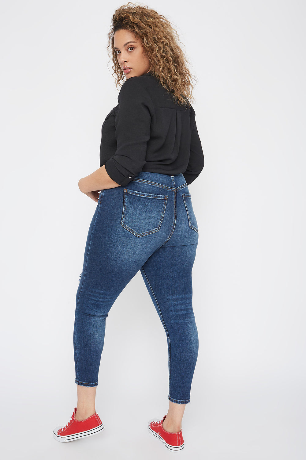 Plus Size High-Rise Distressed Knee Skinny Jean Dark Blue