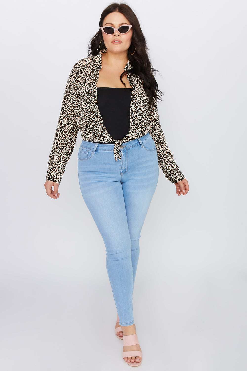 Plus Size High-Rise Skinny Jean Light Denim Blue