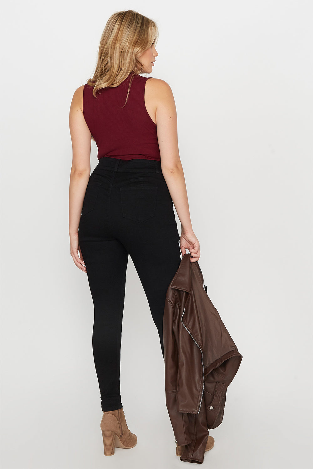 Plus Size Butt, I Love You 2-Tier High-Rise Push-Up Skinny Jean Black