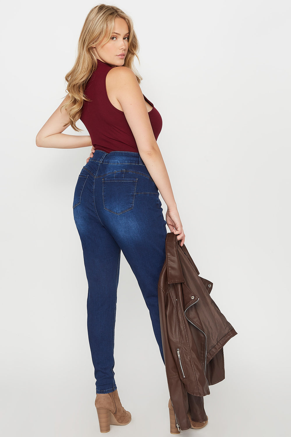 Plus Size Butt, I Love You 2-Tier High-Rise Push-Up Skinny Jean Dark Blue