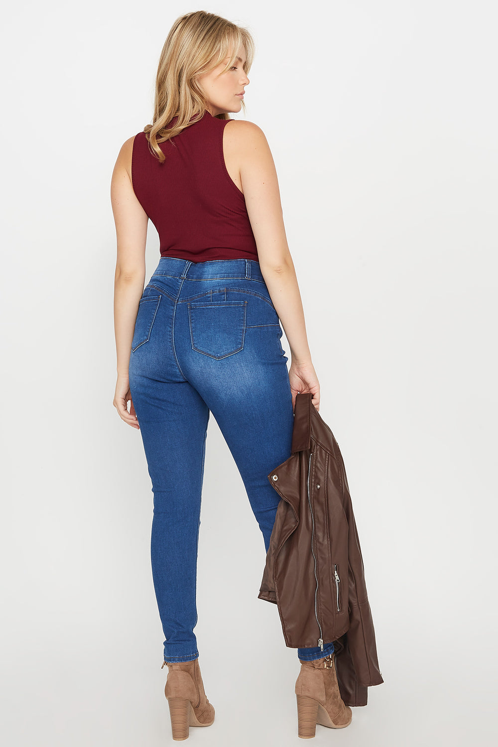 Plus Size Butt, I Love You 2-Tier High-Rise Push-Up Skinny Jean Medium Blue